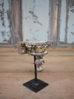 Vintage teak candle Stand, mounted on an iron stand